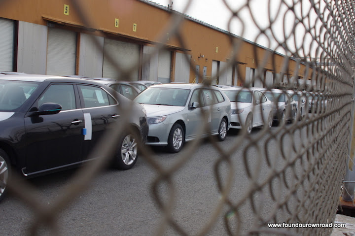 Saabs in port, in New Jersey