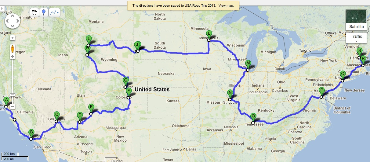USA Road Trip Route Map – draft 1 – Swadeology